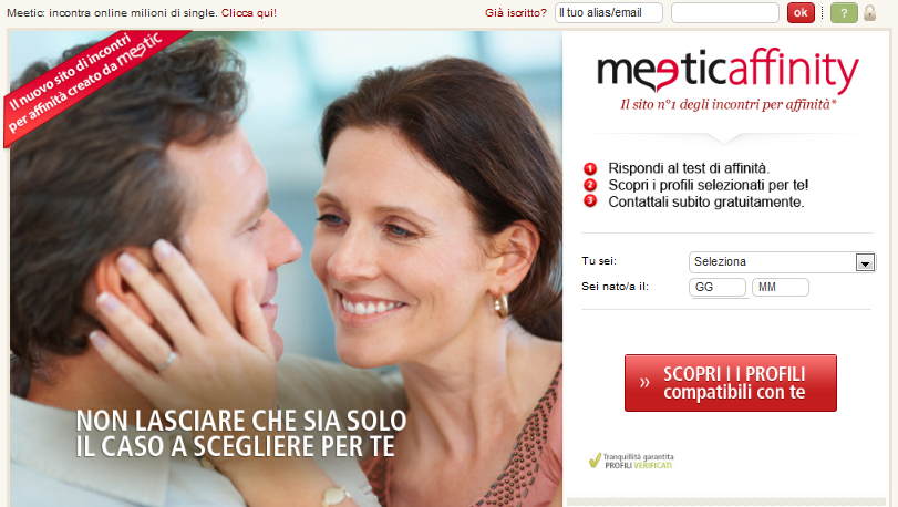 Visuels du site Meetic Affinity
